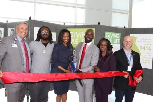 From left: Luis Fonseca COO, Alameda Health System; Antwone Johnson, donor brother; Janice F. Whaley, CEO, Donor Network West; Delvecchio Finley, CEO, Alameda Health System; Damita Barbee, Donate Life Ambassador; Sean Van Slyck, COO, Donor Network West